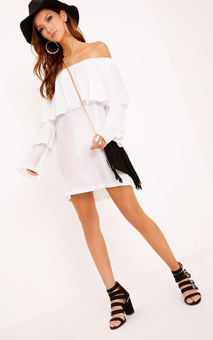 Neah White Bardot Layered Frill Shift Dress 4