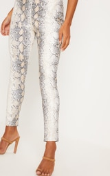 White Snakeskin Faux Leather Skinny Pants 5