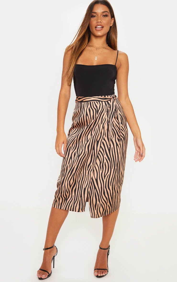 Champagne Zebra Print Satin Wrap Midi Skirt 1