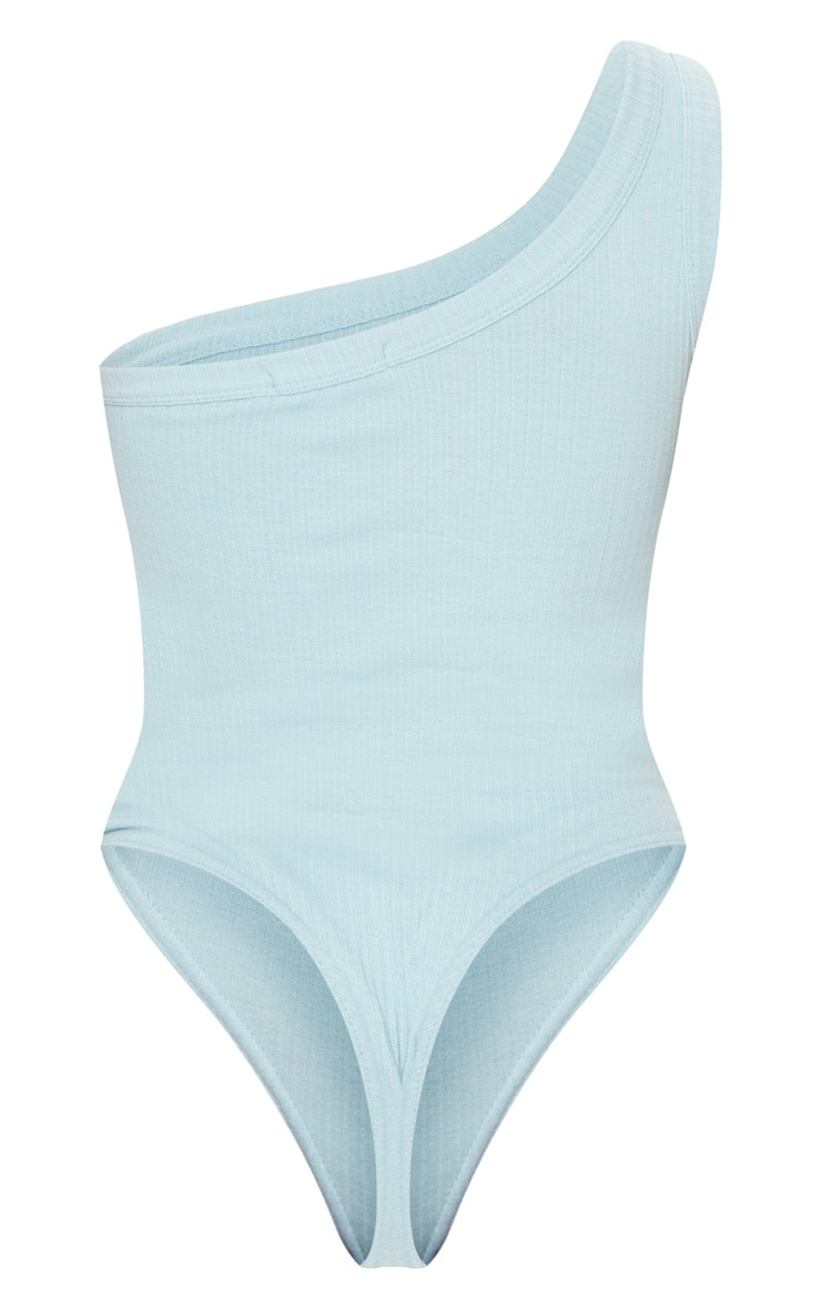 Baby Blue Structured Rib One Shoulder Bodysuit 6