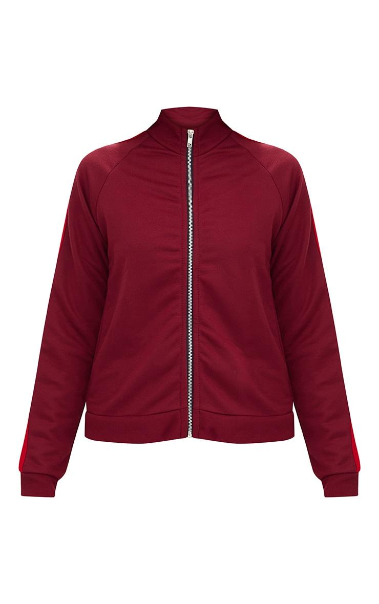 Burgundy Contrast Stripe Runner Jacket  3