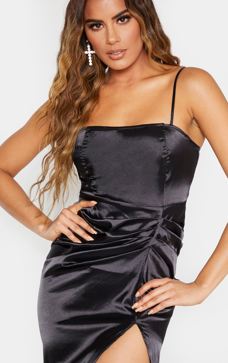 Tall Black Ruched Side High Split Satin Midi Dress  4