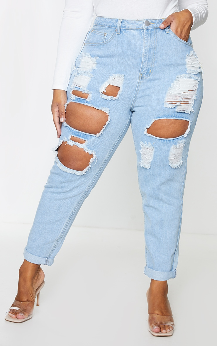 Plus Light Wash Super Distress Mom Jeans 2