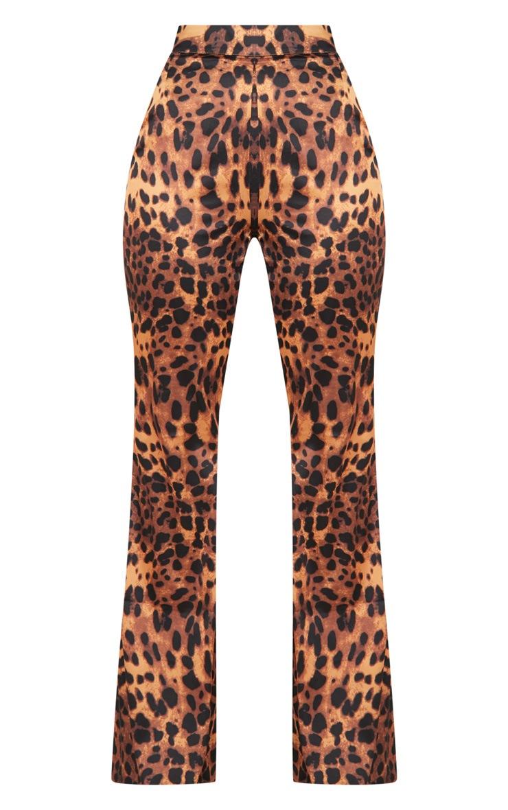 Tan Satin Leopard Wide Leg Pants 3