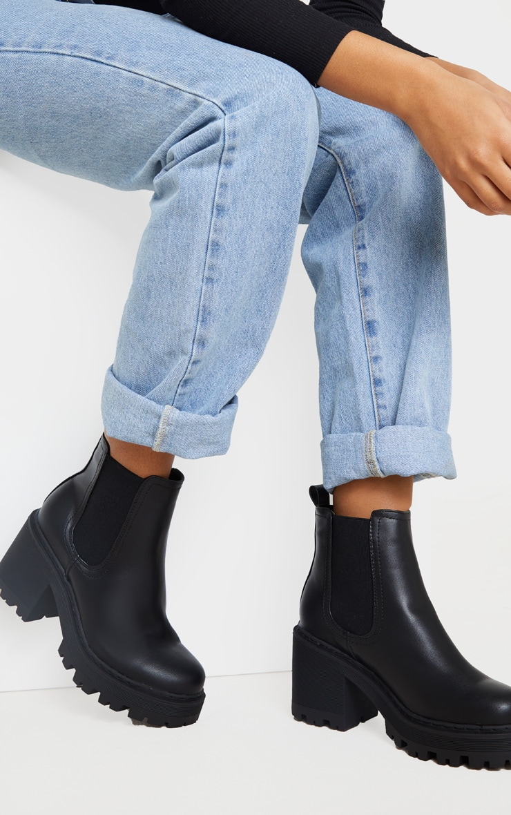 Black Wide Fit Chunky Heeled Chelsea Boot 1
