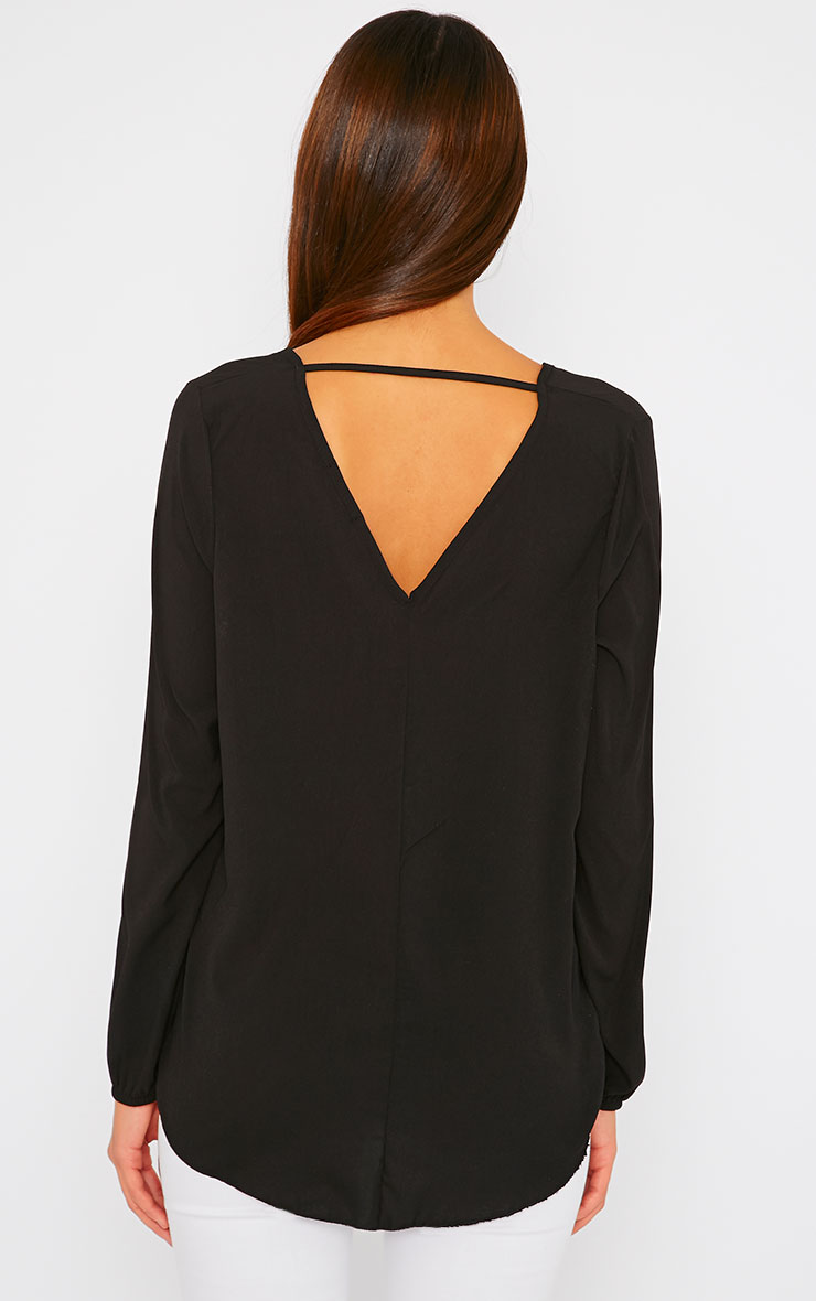 Julie Black Wrap Front V Back Top 3