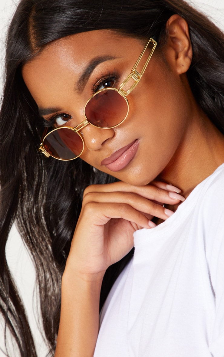 Gold Oval Metal Frame Sunglasses 2