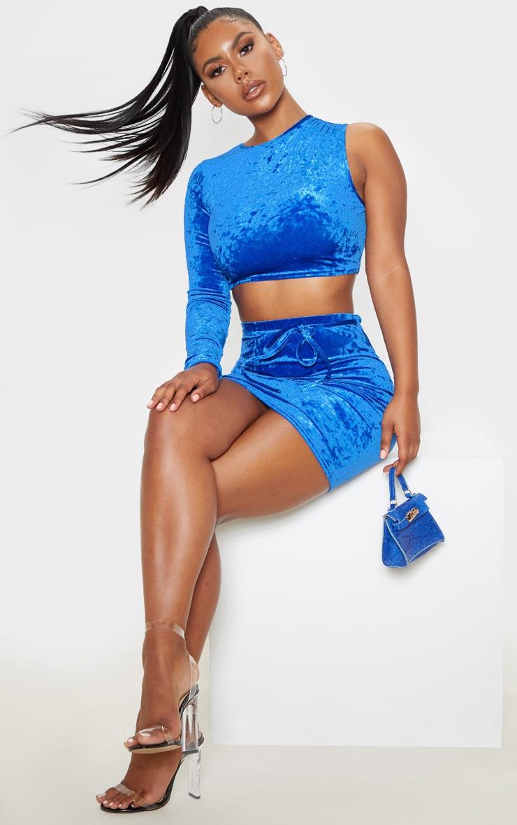 Blue Velvet Tie Detail Mini Skirt 5