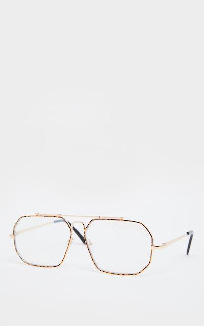 Gold Angled Oversized Aviator Reader Glasses