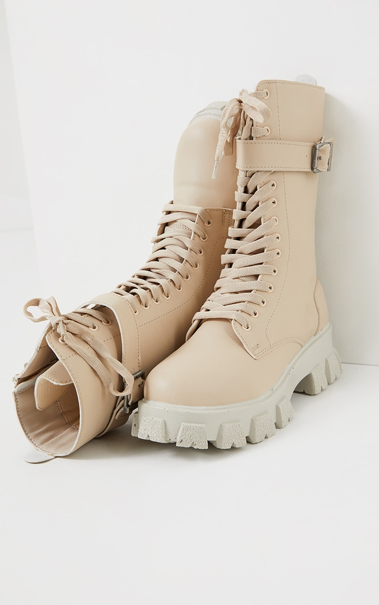 Beige Lace Up Buckle Trim Cleated Sole Calf Boots 3