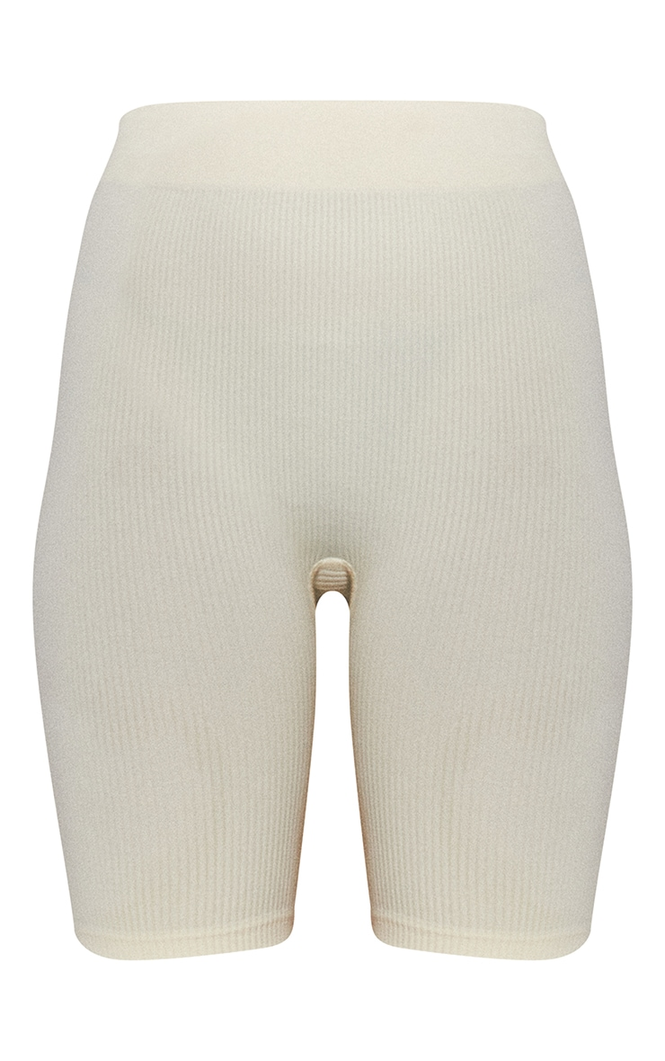 Cream Structured Contour Rib Cycle Shorts 6