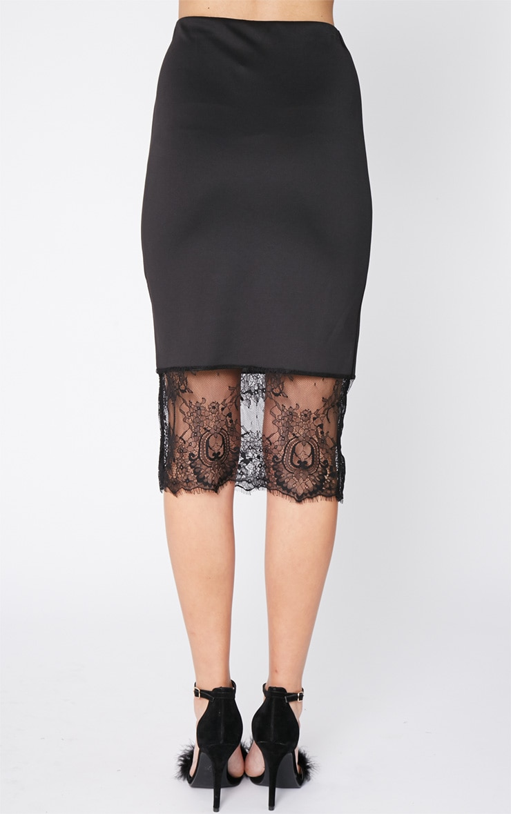 Salina Black Lace Trim Midi Skirt 4