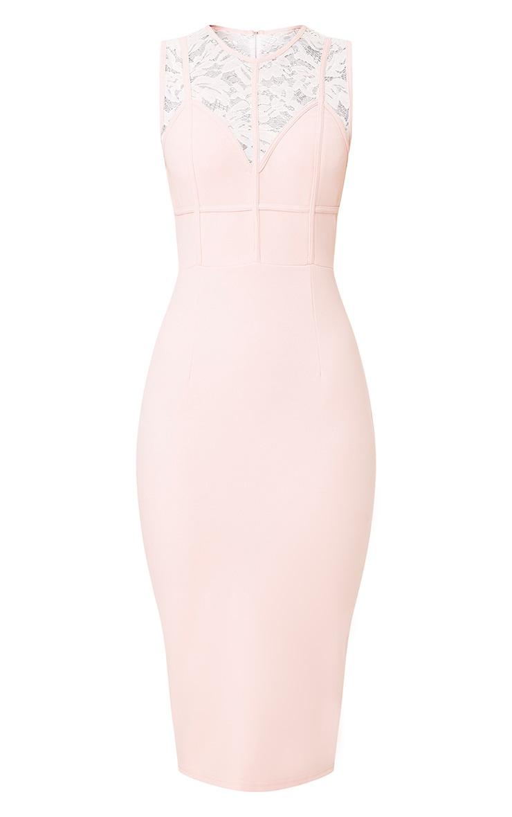 Domanique Nude Lace Contrast Midi Dress 3
