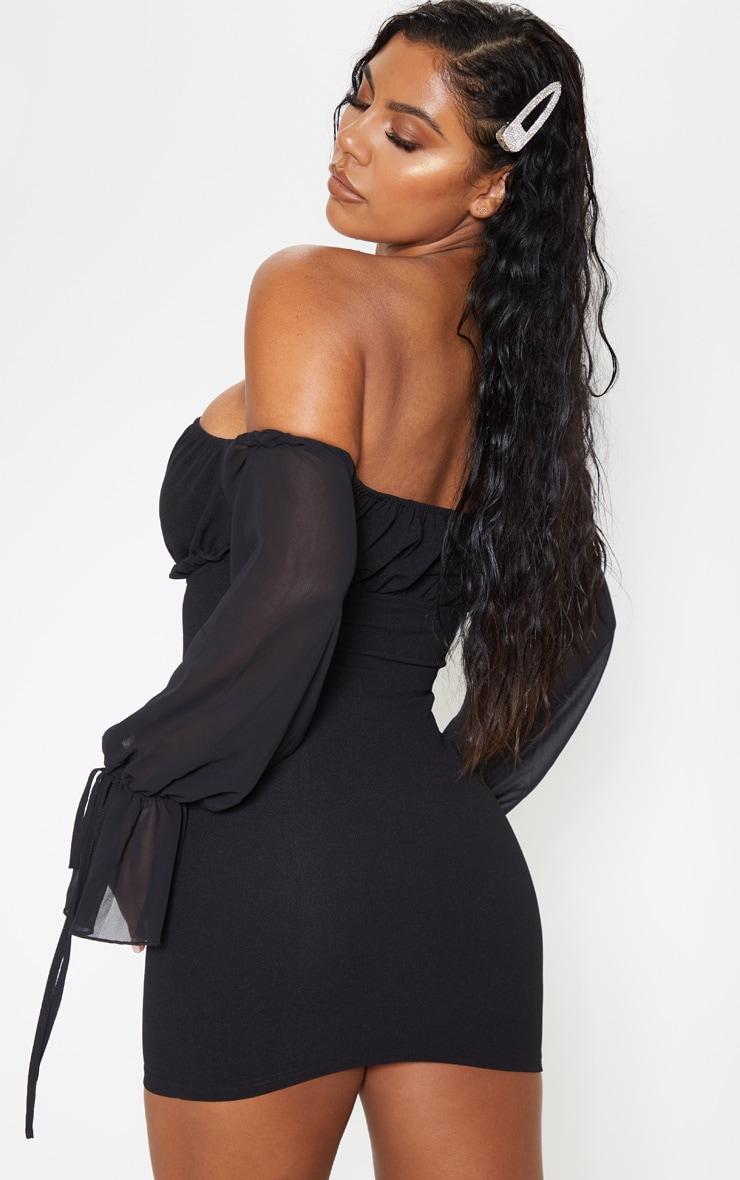 Black Chiffon Sleeve Hook & Eye Bodycon Dress 2