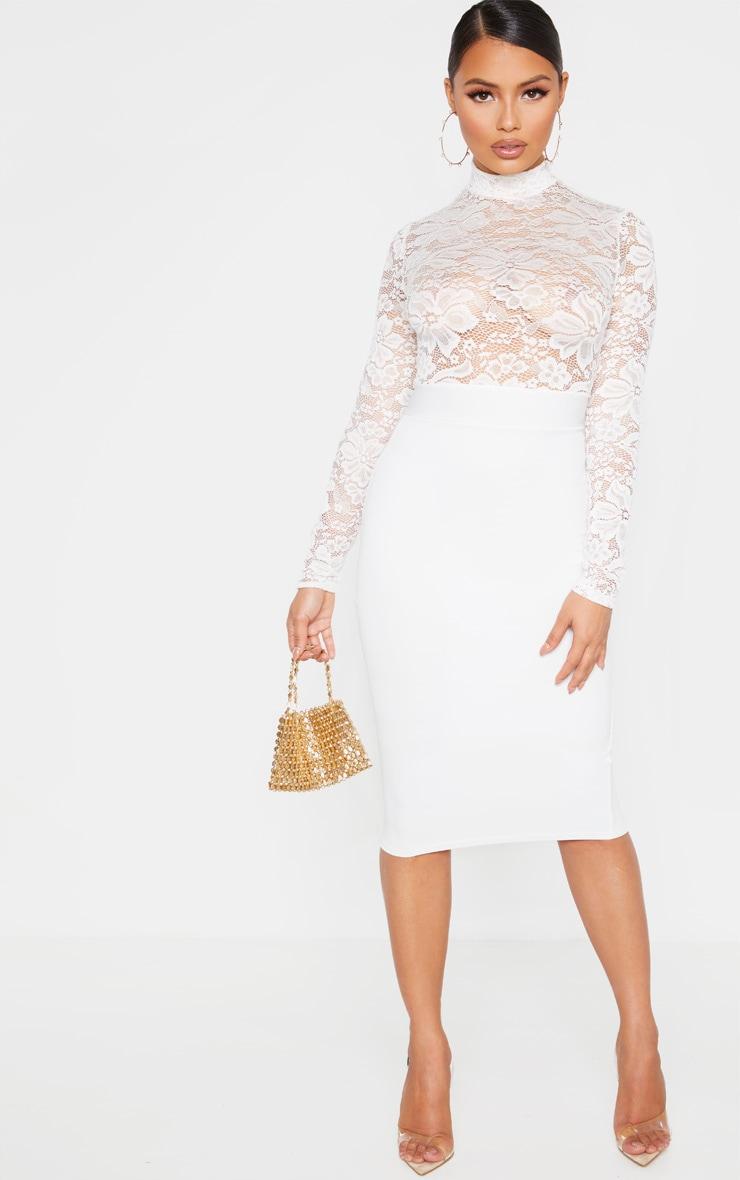 Petite Cream Lace High Neck Midi Dress 1