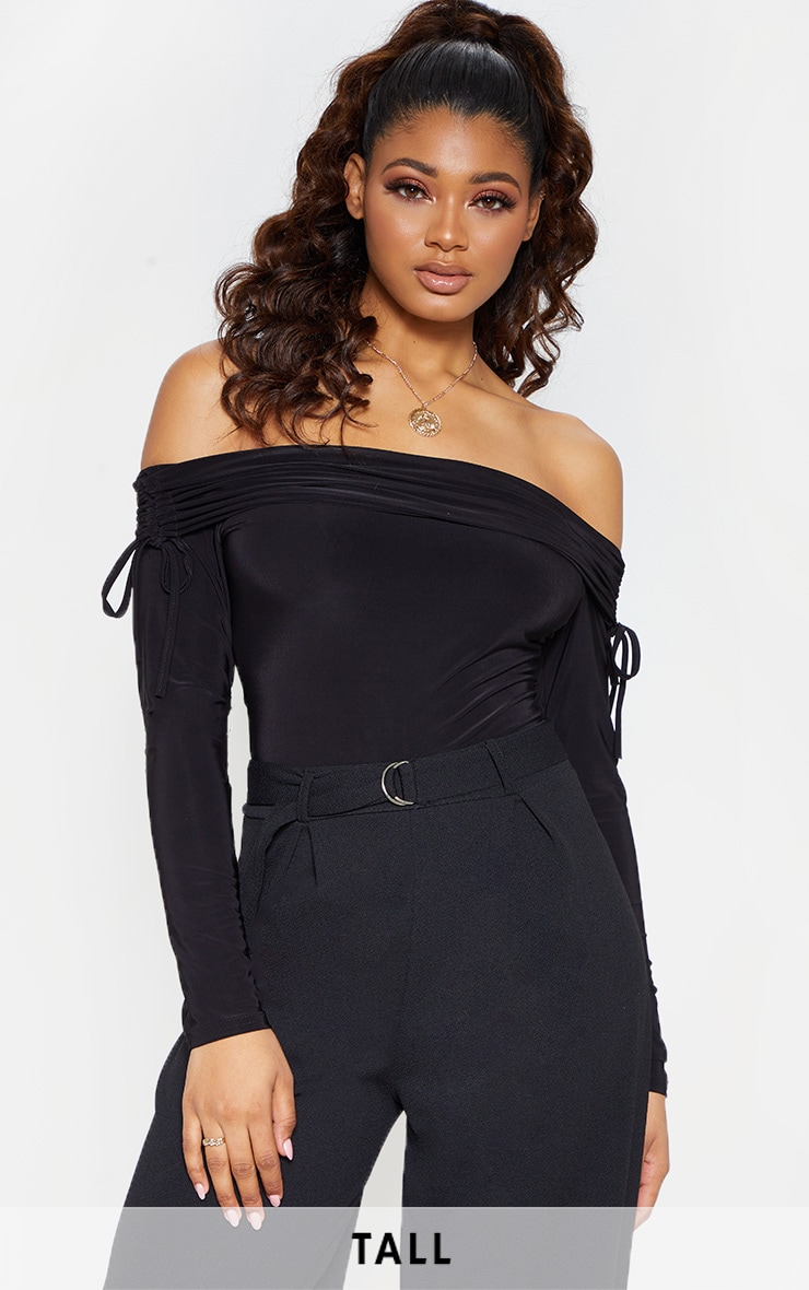 Tall Black Slinky Ruched Bardot Bodysuit  1