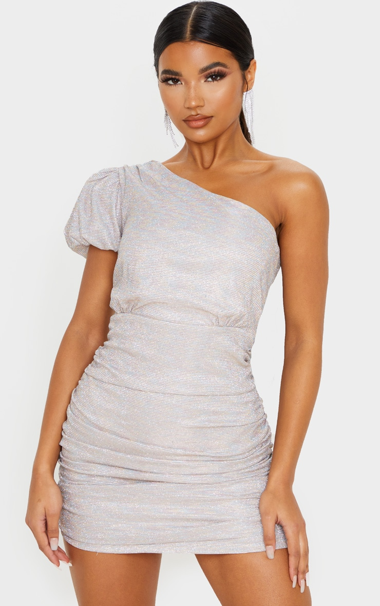 Multi Glitter Puff Sleeve Ruched Bodycon Dress 1