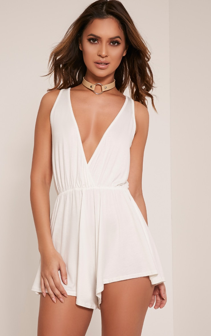 Louisanna White Sleeveless Wrap Playsuit 1