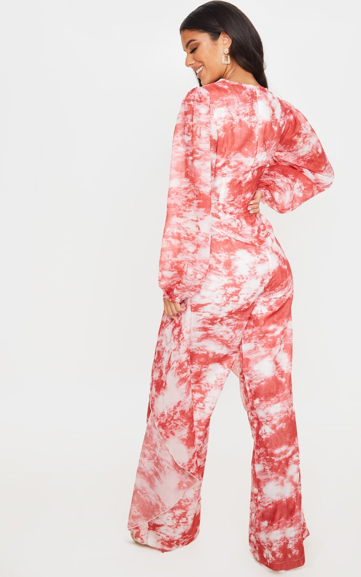 Red Tie Dye Print Chiffon Twist Jumpsuit 2