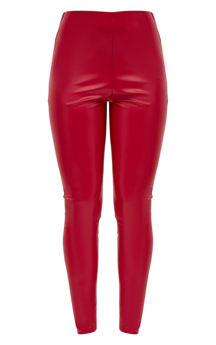 Red Faux Leather Highwaisted Leggings 3