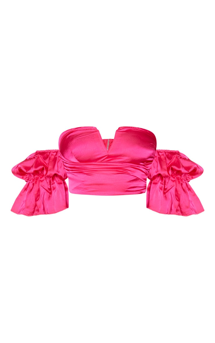 Hot Pink Satin V Wire Bardot Puff Sleeve Crop Top 3