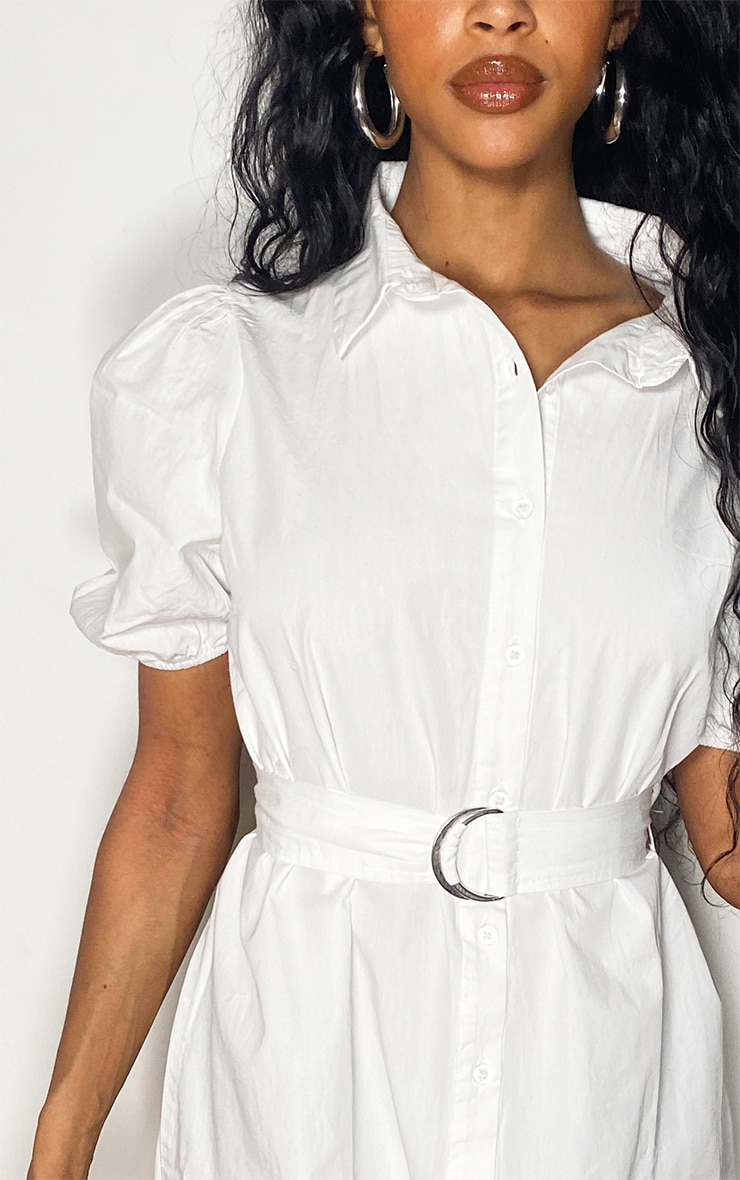 White Short Puff Sleeve Shirt Dress 4