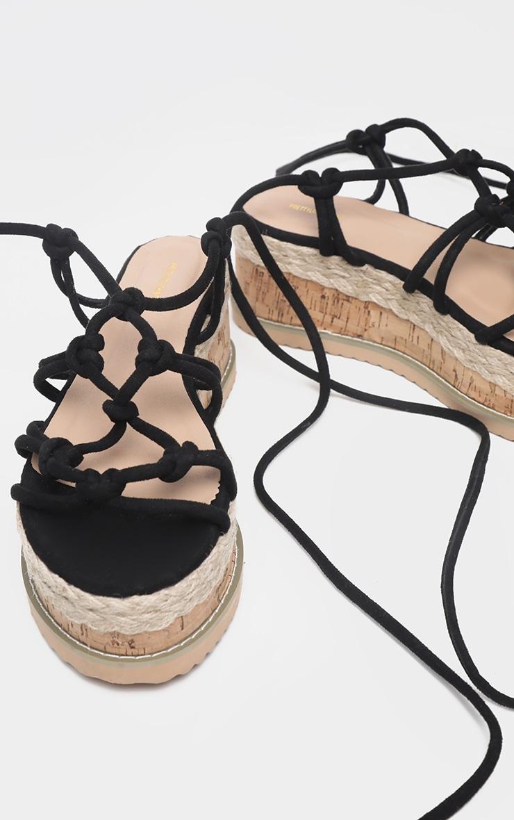 Sandales compensées style espadrilles à brides nouées noires 3