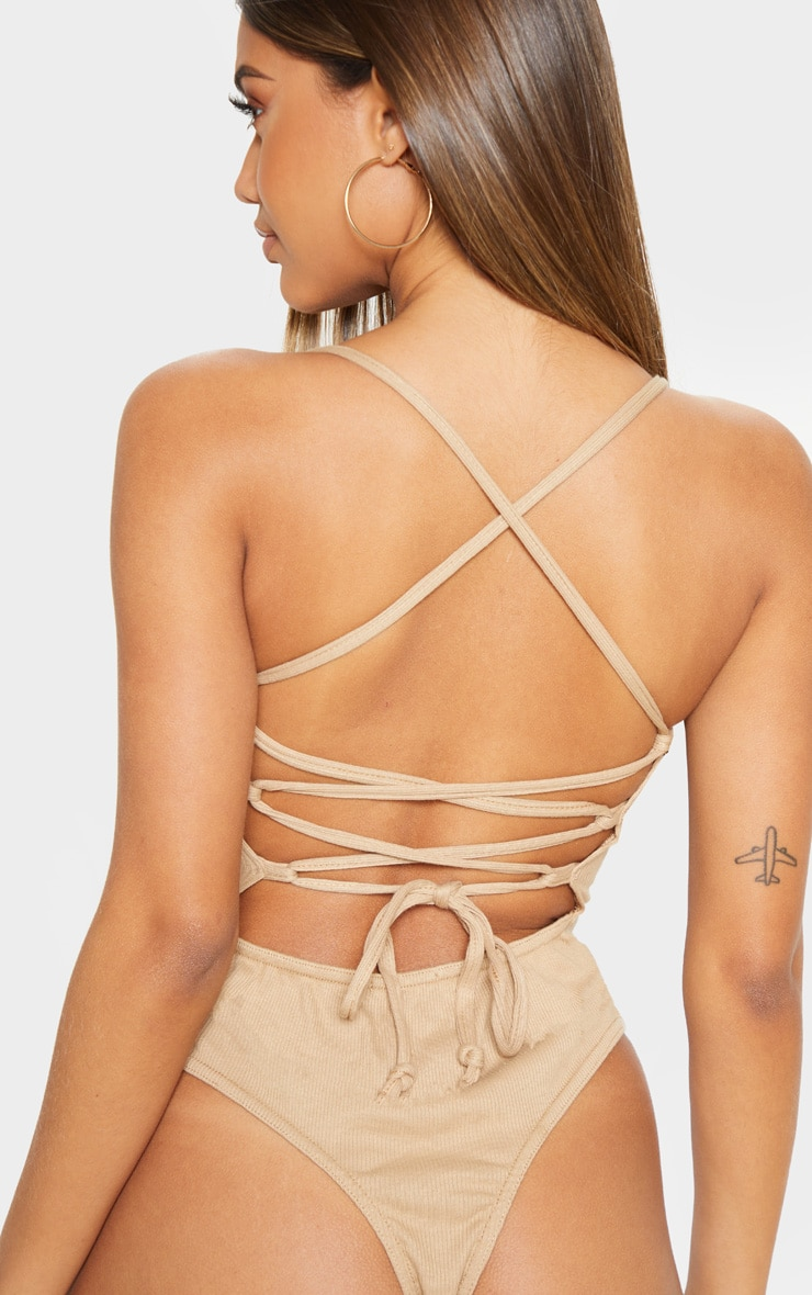 Camel Rib Strappy Back Thong Bodysuit 6