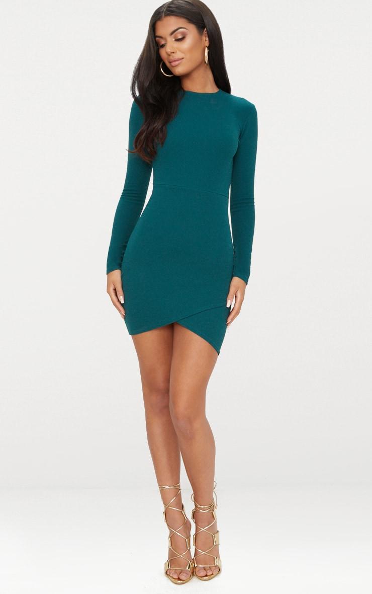 Emerald Green Long Sleeve Wrap Skirt Bodycon Dress 4