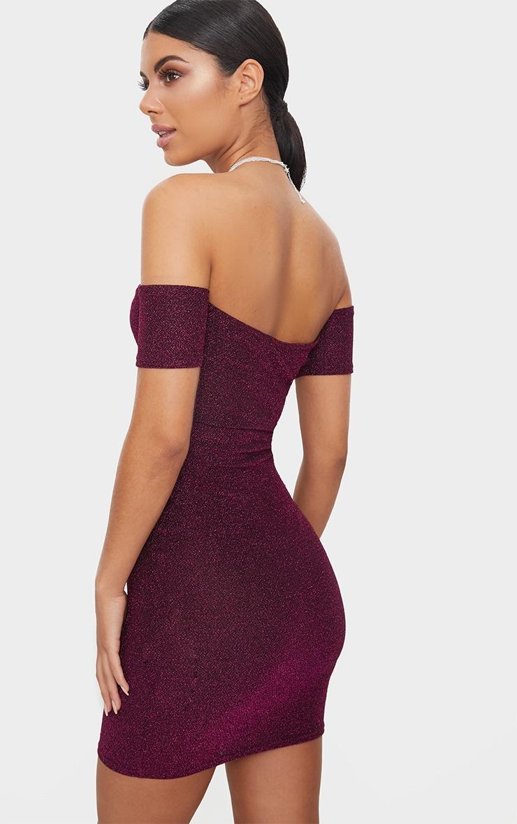 Fuchsia Glitter Bardot V Plunge Bodycon Dress  2
