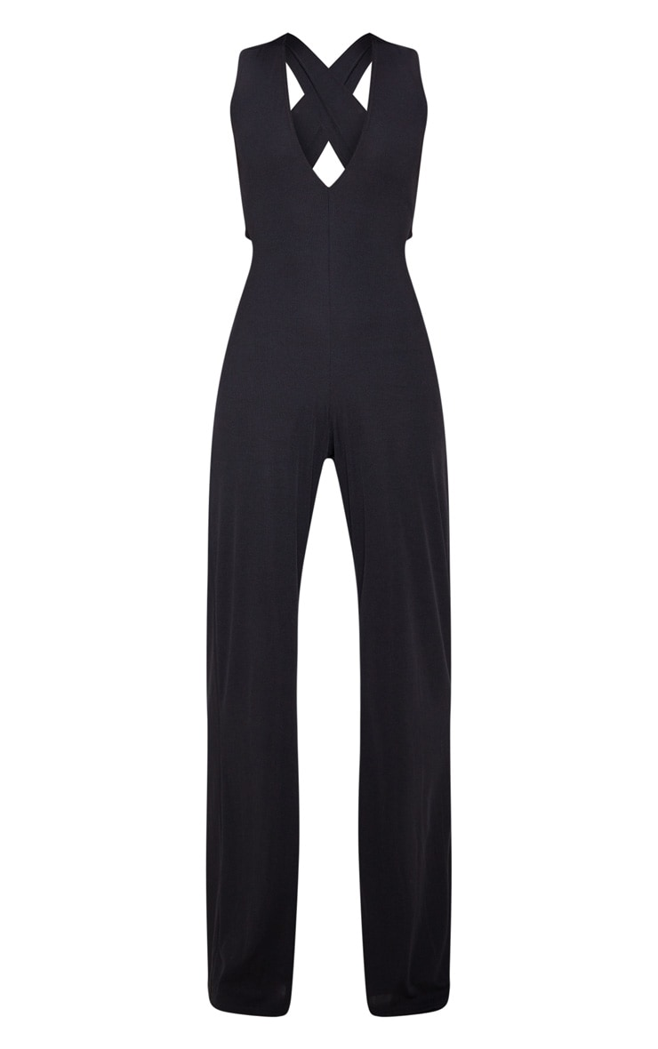 Black Cross Back Rib Jumpsuit 3