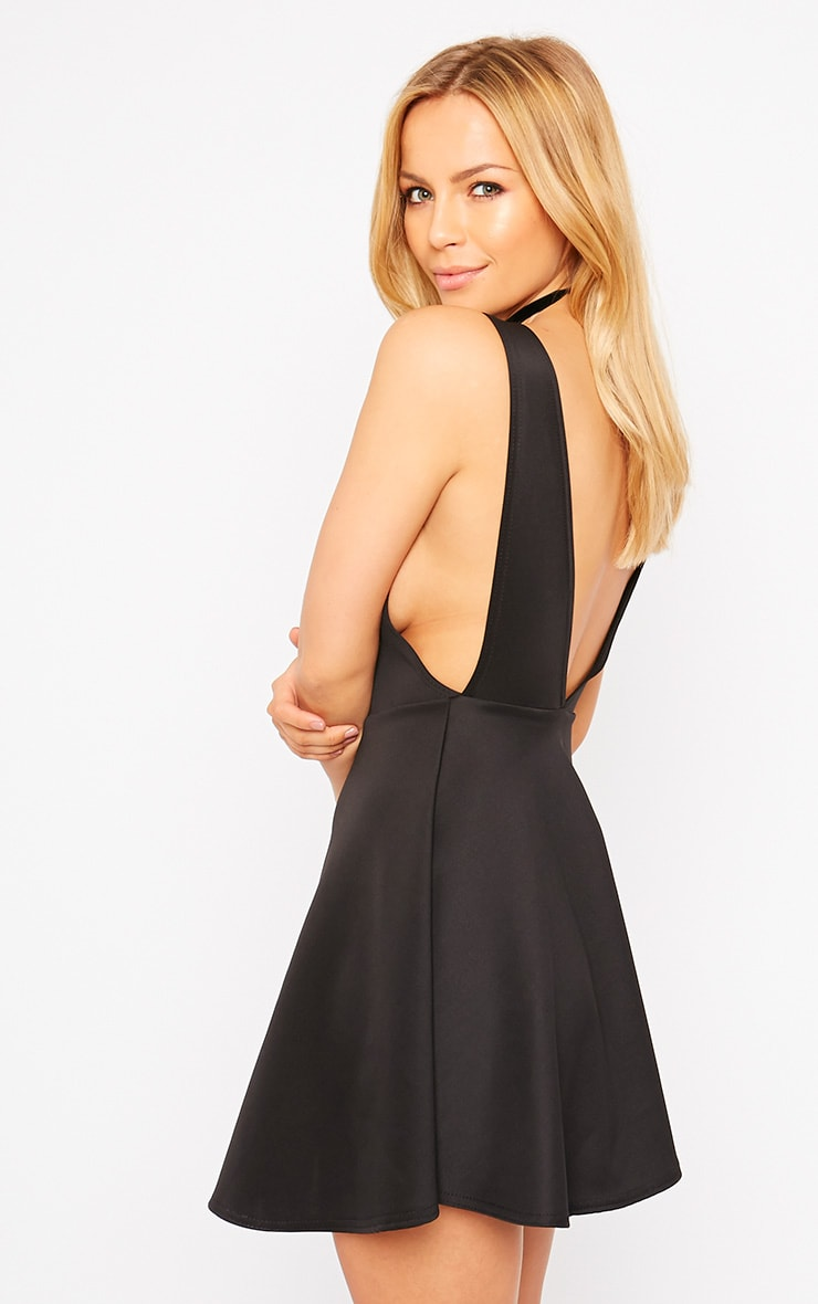 Ash Black V Back Scuba Skater Dress 1