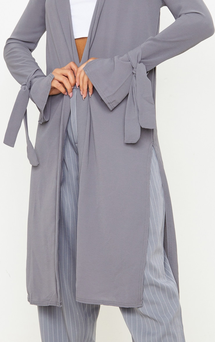 Aba Grey Sleeve Tie Detail Duster Jacket 5