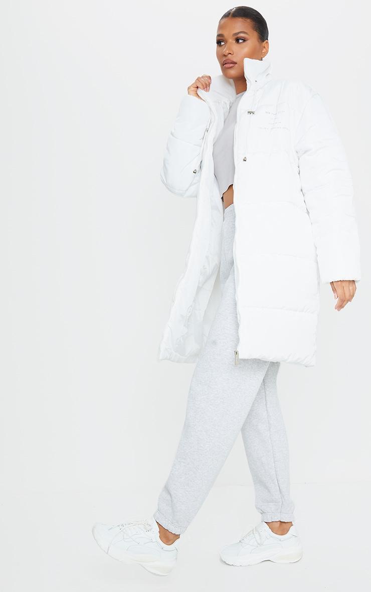 White Slogan Midi Oversized Puffer Coat 2