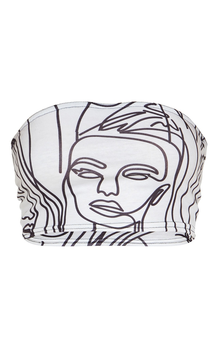 White Abstract Faces Print Bandeau Crop Top 3