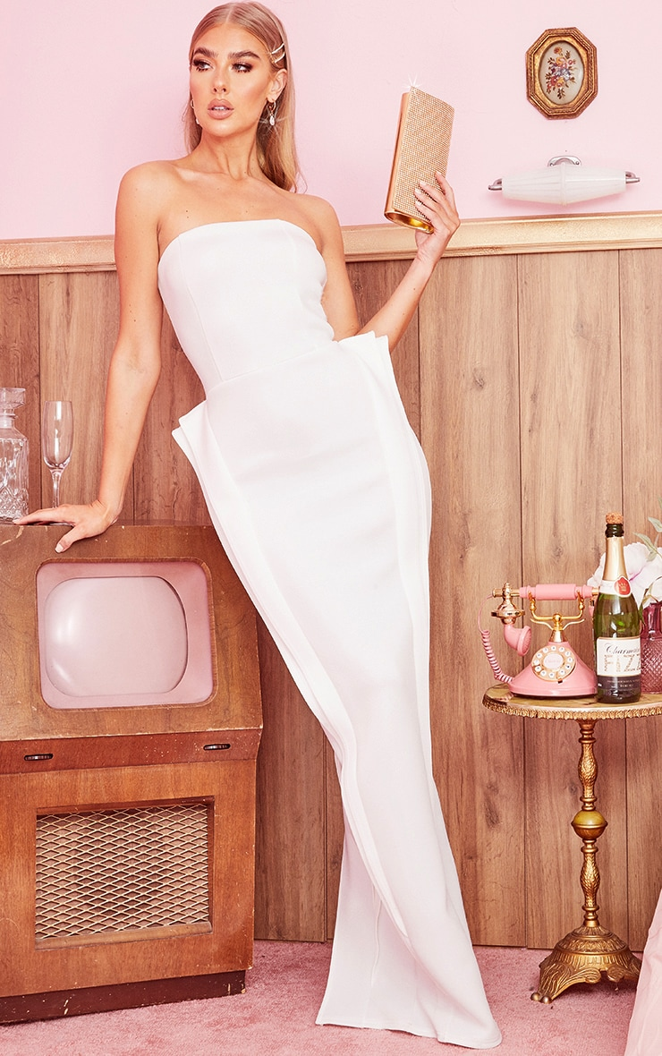 White Bandeau Pleat Detail Maxi Dress 1