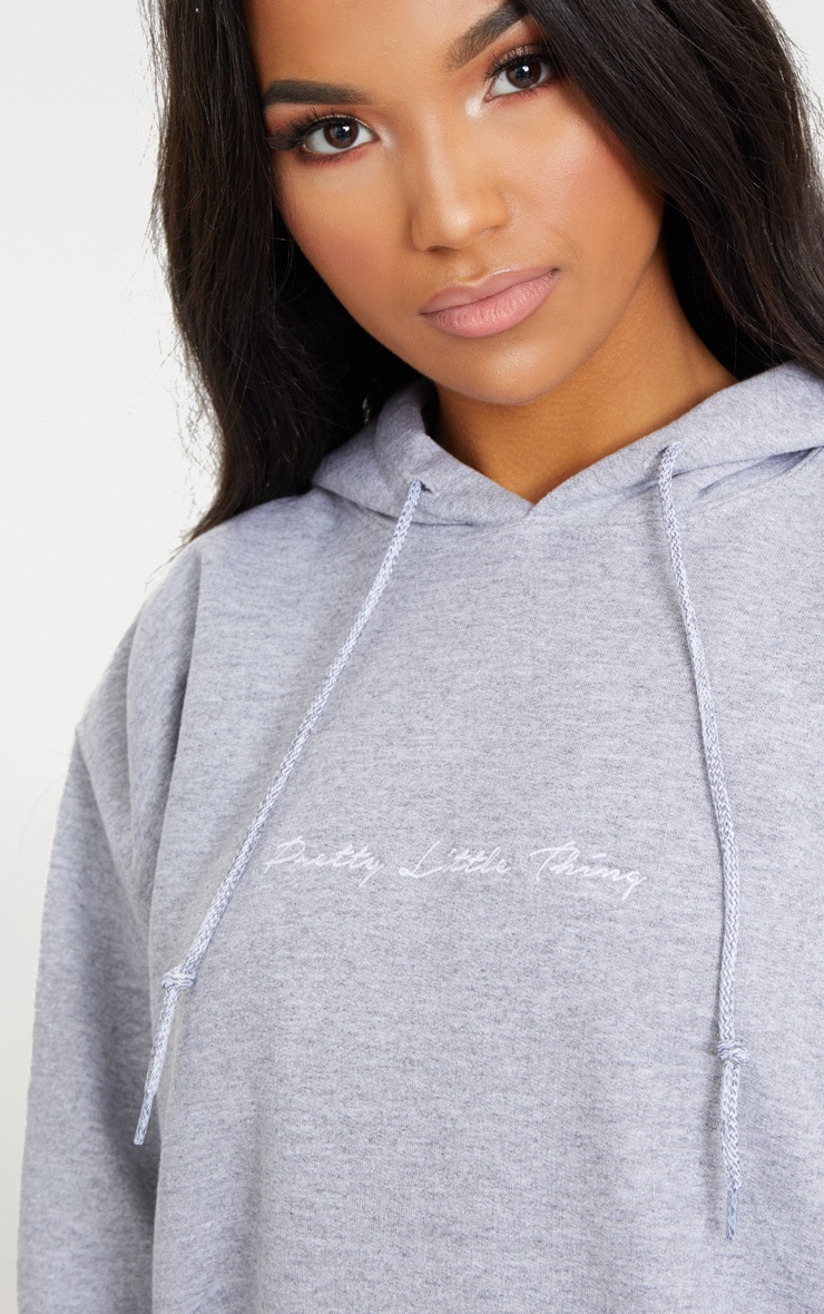 PRETTYLITTLETHING Grey Marl Embroidered Oversized Hoodie 5