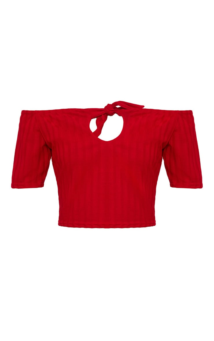 Red Rib Knit Tie Front Crop Top 3