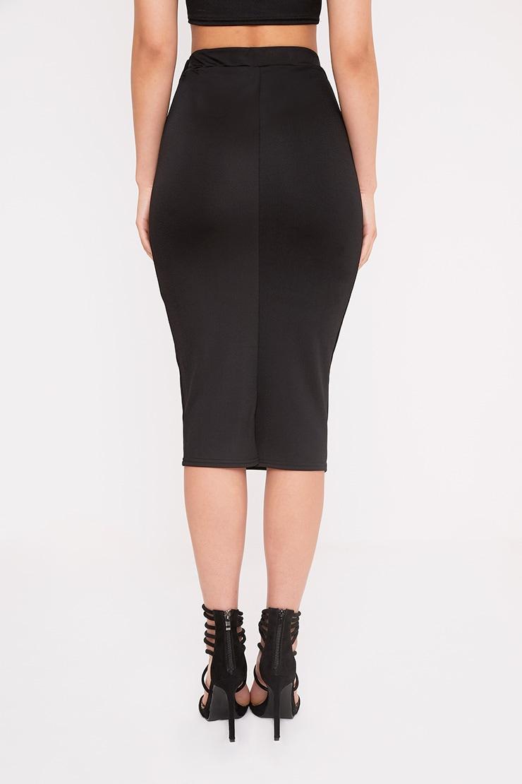 Lacy Black Crepe Midi Skirt 5