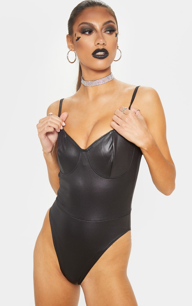 Tall Black Cup Detail PU Bodysuit 2