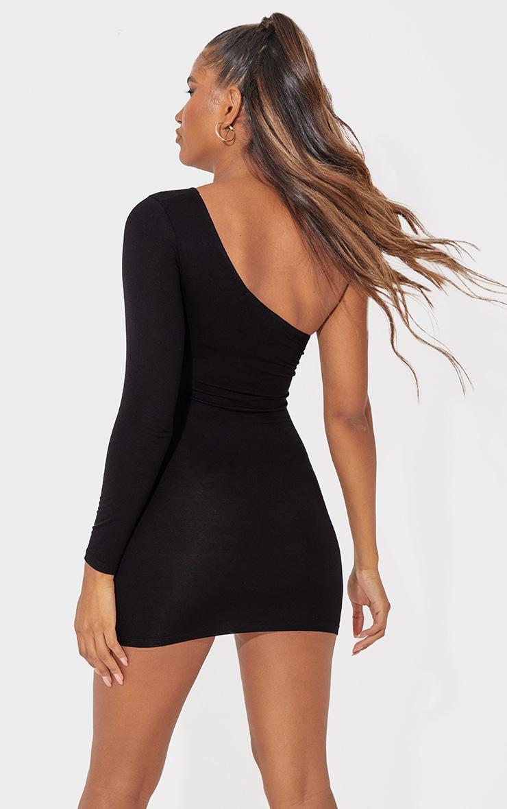Black One Shoulder Long Sleeve Bodycon Dress 3
