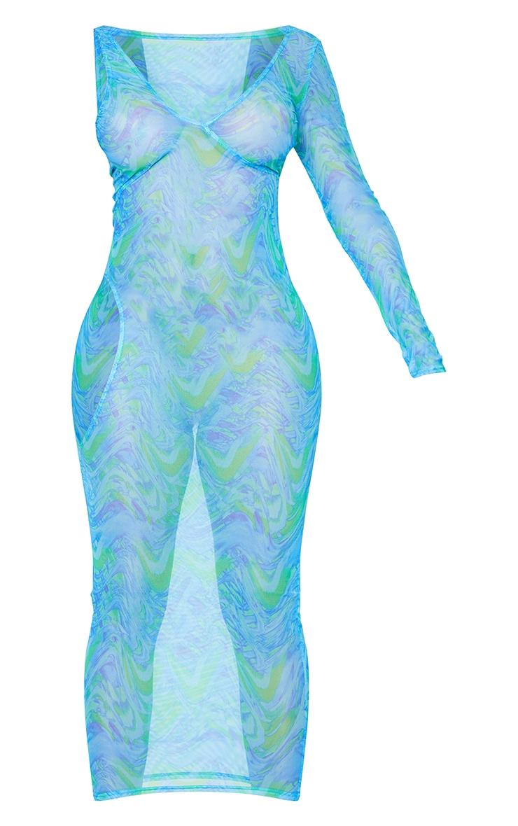 Shape Blue Wave Print Sheer Mesh Cut Out Midaxi Dress 5