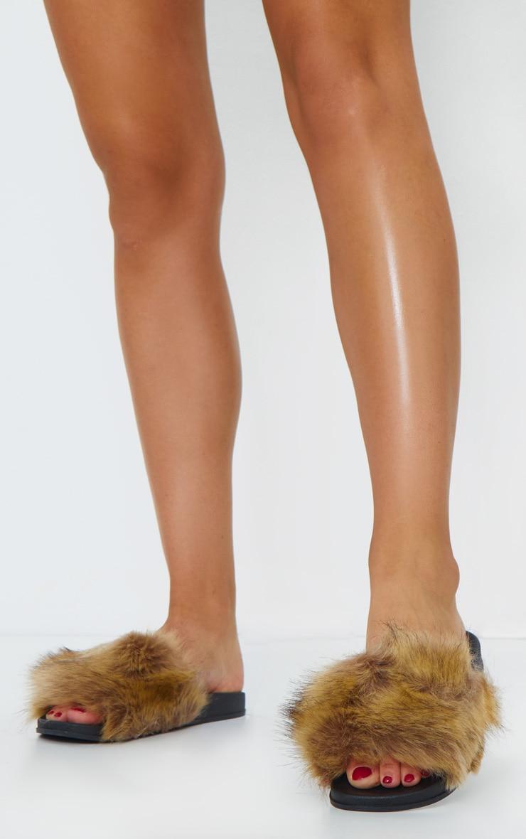 Brown Faux Fur Strap Sliders 1