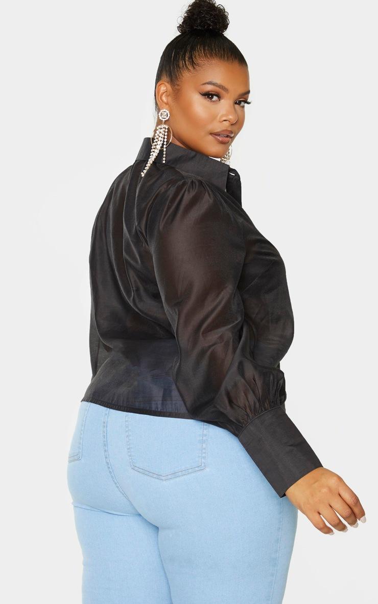 Plus Black Sheer Woven Oversized Shirt 2