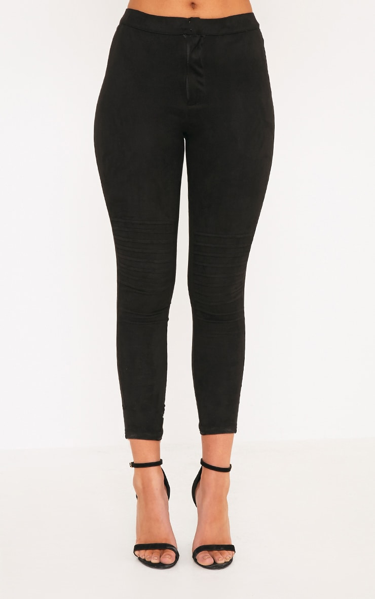 Kristy Black Faux Suede Knee Panel Cropped Trousers 2