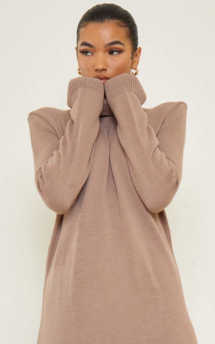 Camel Roll Neck Shoulder Pad Knitted Midi Sweater Dress 4