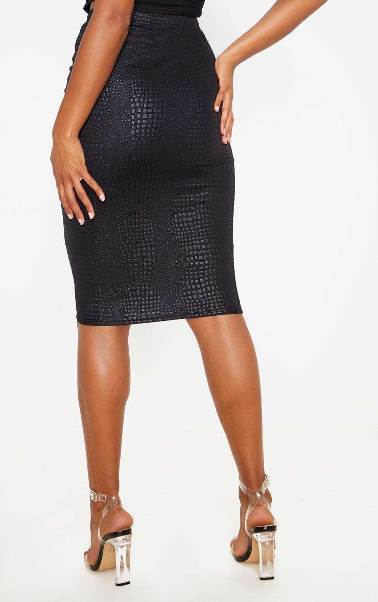 Black Croc Print Midi Skirt 4