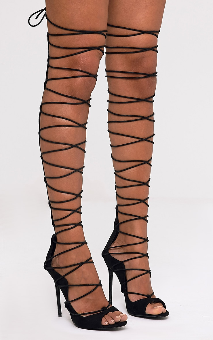 Colleen Black Thigh High Lace Up Heeled Sandals 1