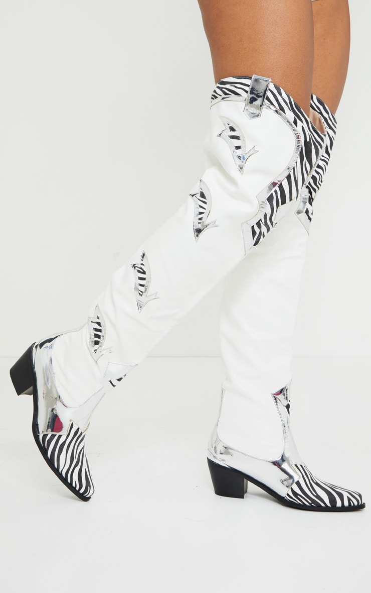 Zebra Panelled Over The Knee Western Boots 2