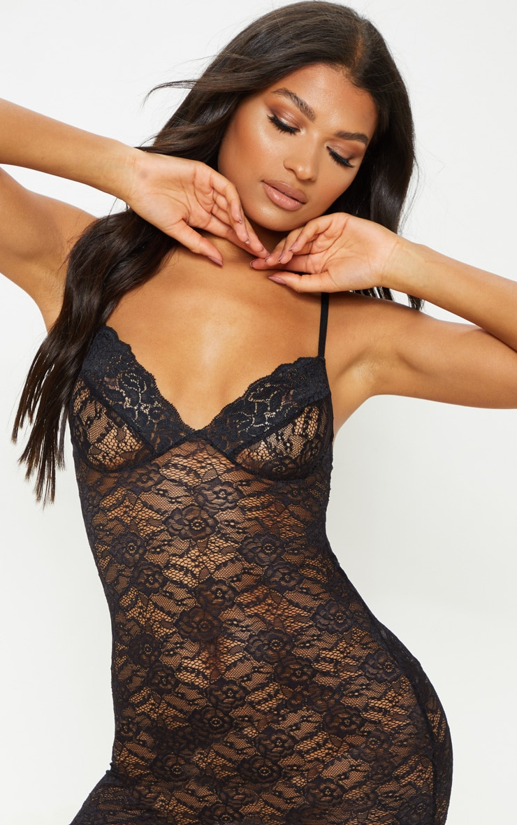 Black Lingerie Lace Slip Dress 5